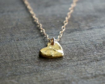 Hammered Heart Necklace / Gold Heart on Gold Filled Chain ... Mother's Day Best Friends Love You Necklace