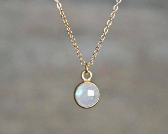 Moonstone Necklace // 9mm Small Rainbow Moonstone Pendant on a 14k Gold Filled Chain • Genuine Moonstone • Dainty Jewelry • Gift for Her
