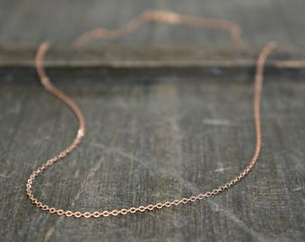 Plain Rose Gold Necklace // Shimmering 14k Rose Gold Filled Chain / Short or Long • Simple and Pretty Layering Necklace • choose your length