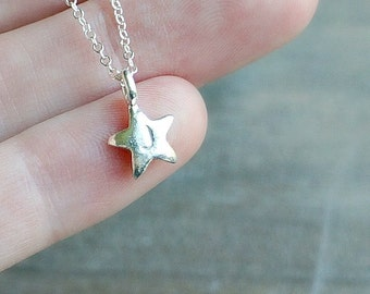 Silver Star Necklace / Personalized Chubby Star Pendant with Initial •  Custom Gift for Her • Make a wish on a Star • Graduation Necklace