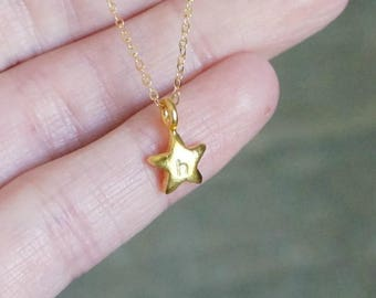 Gold Personalized Chubby Star Necklace / Tiny Star Pendant with Custom Initial on a 14k Gold Filled Chain • Long or Short Chain