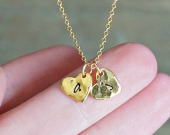 Tiny Double Heart Initial Necklace // Personalized Charms on a 14k Gold Filled Chain • Dainty Custom Made Jewelry • Gift for Her