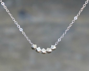 Silver Nugget Necklace / Five Tiny Silver Chunks on a Sterling Silver Chain / Gift for Her / Family of Five