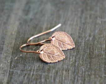Rose Gold Leaf Earrings / Realistic Tiny Leaves on Rose Gold Filled Earwires ... Modern Minimal Earrings for Sensitive Skin