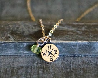 Compass & Birthstone Necklace // Gold Compass with genuine Gemstone Charm / Personalized Necklace • Custom Made Gift for Her
