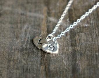 Two Initial Silver Hammered Hearts Necklace / Choose 2 Hand Stamped Letter Pendants on Sterling Silver Chain, personalized jewelry