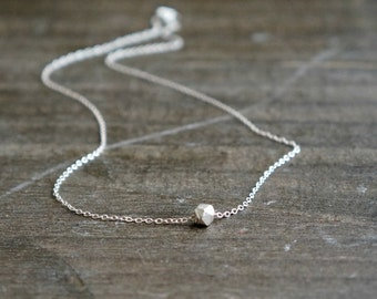 Silver Nugget Necklace / Solid Silver Geometric Chunk on Sterling Silver Chain ... tiny petite pendant everyday jewelry