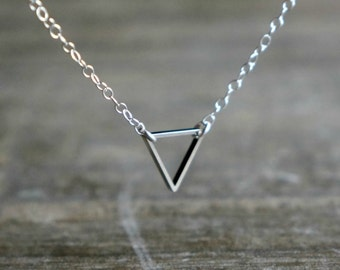 Triangle Necklace / Geometric Upside Down Triangle Pendant on Sterling Silver Chain