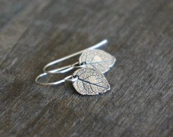 Silver Leaf Earrings / Realistic Tiny Leaves on Sterling Silver Earwires ... Modern Minimal Earrings for Sensitive Skin