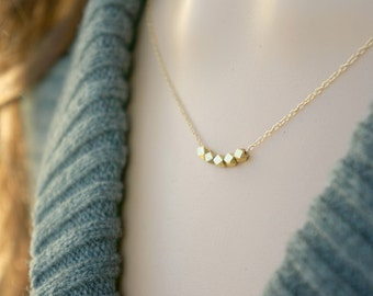 Gold Nugget Necklace / Five Gold Chunks on a Gold Filled Chain ... 5 tiny little geometric beads