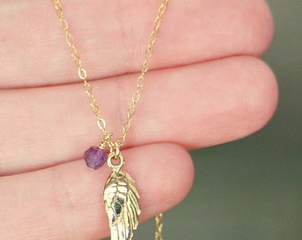 Tiny Wing & Birthstone Necklace // Personalized Gold Angel Wing Necklace / Custom Made Gift for Her • Personal Charms 14k Gold Filled Chain