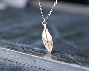 Tiny Feather Necklace / Small Gold Feather Pendant on a Gold Filled Chain ... Feather Charm Meaningful Jewelry