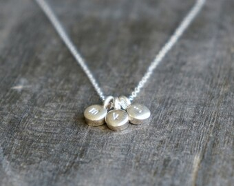 Three Silver Personalized Pebbles Necklace / 3 Tiny Disc Pendants on a Sterling Silver Chain .. choose your hand stamped lowercase letters