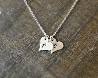 Two Silver Hearts Necklace with Initials / 2 Silver Heart Pendants on Sterling Silver Chain ... choose your letters or leave blank