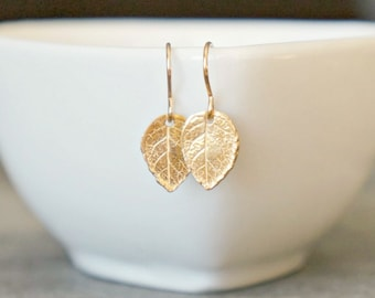 Gold Leaf Earrings / Realistic Tiny Leaves on Gold Filled Earwires ... Modern Minimal Earrings for Sensitive Skin