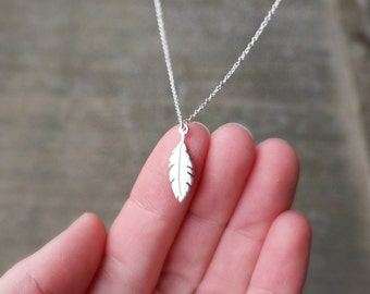 Silver Feather Necklace / Small Sterling Feather Pendant on a Sterling Silver Chain ... Feather Charm Meaningful Jewelry