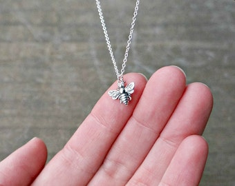 Silver Bee Necklace / Tiny Silver Bumble Bee Pendant on a Sterling Silver Chain ... detailed realistic chubby honey bee necklace