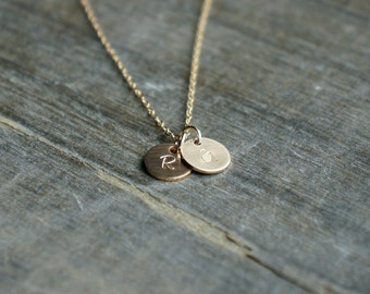 Two Gold Disc Necklace with Initials / 2 Small (8mm) Personalized Pendants on a Gold Filled Chain - choose your uppercase letters