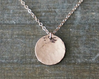 Rose Gold Hammered Disc Necklace / Half Inch Slightly Domed Disk Pendant on a Rose Gold Filled Chain / Simple Classic Everyday Necklace