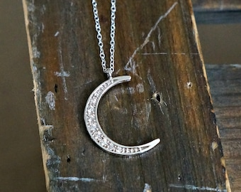 Crescent Moon Necklace // CZ Encrusted Moon Pendant on a Sterling Silver • Dainty Sliver Crescent Moon Charm Necklace