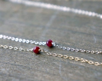 Tiny Ruby Nugget Necklace / Deep Red Genuine Ruby on a Gold Filled or Sterling Silver Chain, Petite Everyday Jewelry