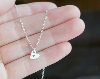 Tiny Monogrammed Heart Necklace ... Small Sterling Silver Heart Pendant with lowercase letter of your choice on a Sterling Silver Chain