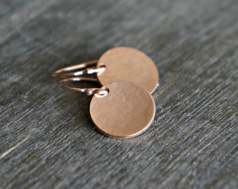 Rose Gold Disc Earrings / Lightly Hammered and Domed (half inch) Round Disk Earrings / Pink Gold Modern Minimal Earrings for Sensitive Skin