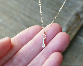 Tiny Gold Key Necklace / 14k Gold Key on a Gold Filled Chain ... Key to My Heart Necklace