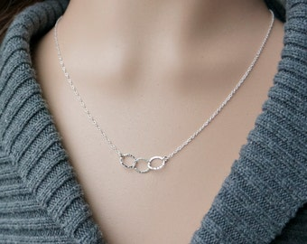 Three Entwined Circle Necklace / Tiny Silver Linked Hammered Infinity Rings on a Sterling Silver Chain .. tiny interlocking eternity circles