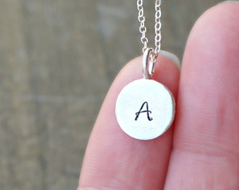 Silver Disc Initial Necklace / Personalized Pendant on a sterling silver chain ... choose your CAPITAL letter or leave it plain