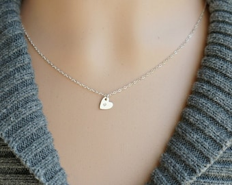 Dainty Monogrammed Heart Necklace ... Mini Sterling Silver Heart Pendant with lowercase letter of your choice on a Sterling Silver Chain