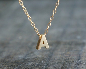Gold Initial Necklace / Tiny Letter Pendant Personalized Gold Filled Chain ... choose your name initial letter