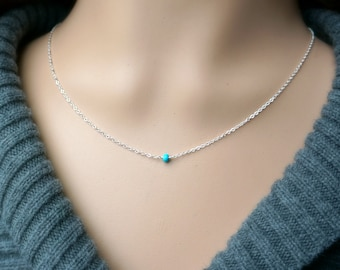 Turquoise and Silver Necklace / Sleeping Beauty Turquoise on a Sterling Silver Chain / Tiny Petite Everyday Jewelry