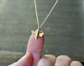 Gold Bee Necklace / Tiny Gold Bumble Bee Pendant on a 14k Gold Filled Chain ... detailed realistic chubby honey bee necklace
