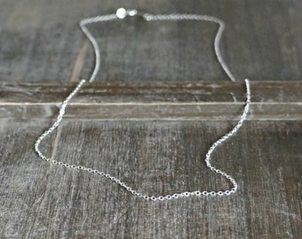 Plain Silver Chain Necklace // Shimmering Sterling Silver Chain / Short or Long • Simple and Pretty • Layering Necklace • choose your length