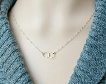 Entwined Circle Necklace / Gold Linked Hammered Infinity Rings on a Gold Filled Chain ... tiny interlocking eternity circles