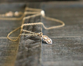 Two Peas in a Pod Necklace / Tiny Gold Pea Pod Pendant on a Gold Filled Chain ... Meaningful Custom Jewelry