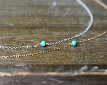 Tiny Turquoise Nugget Necklace / Sleeping Beauty Turquoise on a Gold Filled or Sterling Silver Chain / Petite Everyday Jewelry