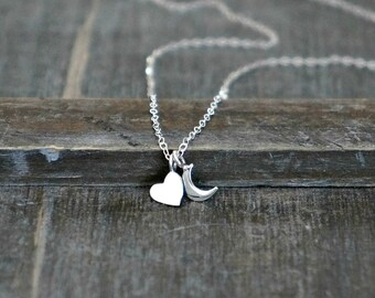 Heart and Moon Necklace in Silver // Tiny Sterling Heart & Crescent Charm Necklace / Simple, Modern I love you to the Moon and Back Jewelry