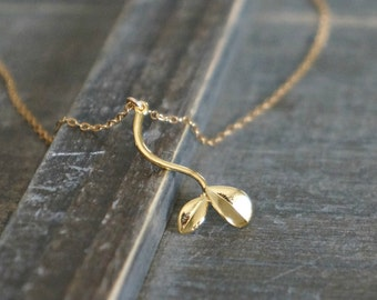 Little Sprout Necklace in Gold / New Mom Necklace • Gift for Her • Tiny Plant Charm on a Gold Filled Chain