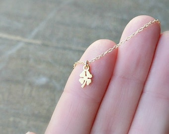 Tiny Gold Clover Necklace /  Small Shamrock Pendant on a Gold Filled Chain ... good luck charm gift for her