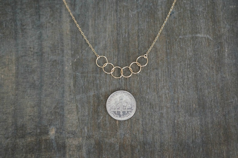 Entwined Circle Necklace  Six Tiny Gold Linked Infinity Rings on a 14k Gold Filled Chain \u2022 Interlocking Eternity Circles Dainty Jewelry