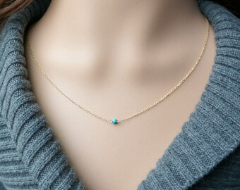 Turquoise and Gold Necklace / Sleeping Beauty Turquoise on a Gold Filled Chain / Tiny Petite Everyday Jewelry