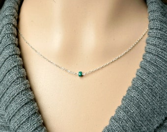 Emerald and Silver Necklace / Deep Green Natural Emerald on a Sterling Silver Chain, Tiny Petite Everyday Jewelry, May Birthstone