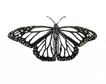 Butterfly Wall Art, Block Print, Linocut