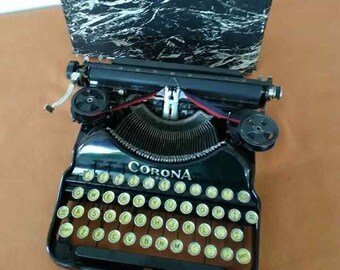 Antique Corona Four Typewriter 1920's w/ Portable Case Collectible Industrial Machinery