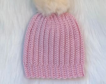 Bubblegum Pink Supersoft Crochet Ribbed Baby Beanie with Cream Faux Fur Pom Pom Size 0-6 Months