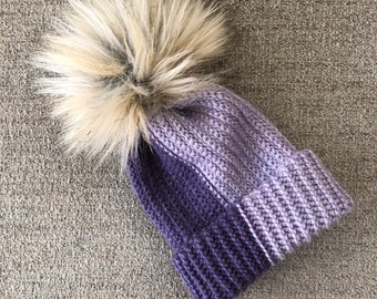 Two-Tone Crochet Ribbed Purple Baby Beanie with Tan Faux Fur Pom Pom Size 3-6 Months