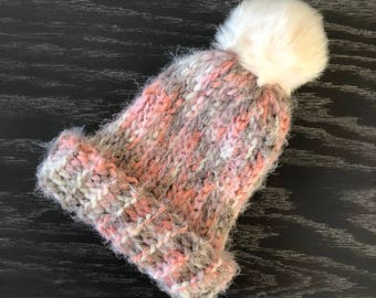 Supersoft Chunky Angel Hair Yarn Crochet Ribbed Beanie in Coral, Pink, Brown and Cream with Cream Faux Fur Pom Pom - Toddler Size