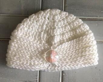 White Crochet Turban with Button Size Newborn, White Sparkle Turban, Crochet Baby Turban, Crochet Newborn Turban, White Crochet Baby Turban